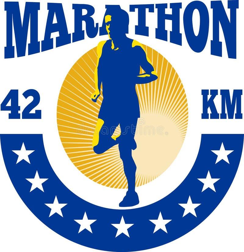 Fonctionnement d'athlète de turbine de marathon illustration stock