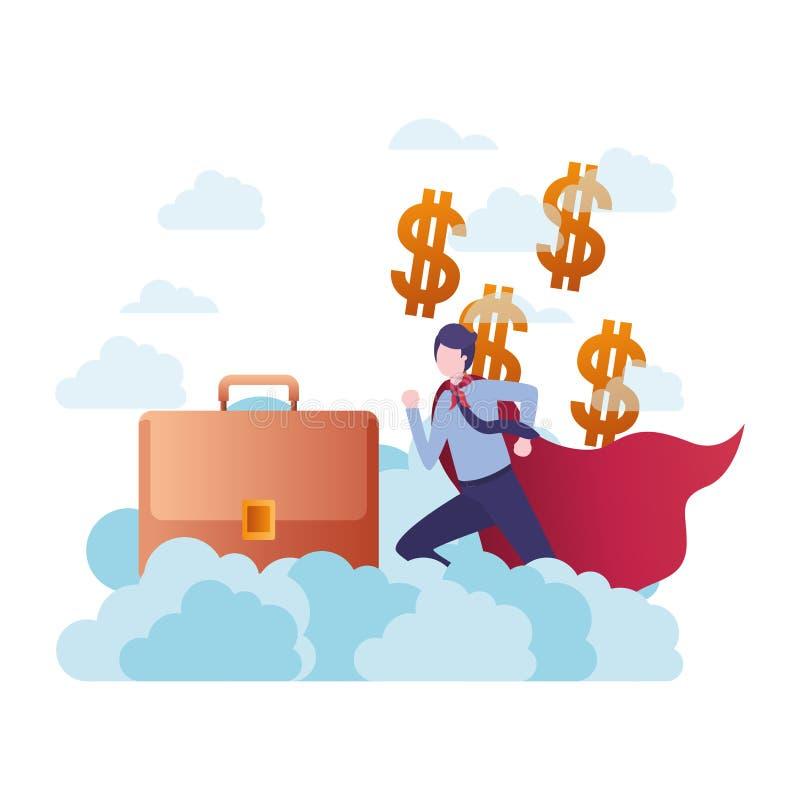 Fonctionnement d'homme d'affaires avec le bagage de banni?re et de main illustration stock