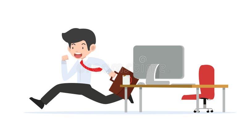 Fonctionnement d'homme d'affaires de pièce de bureau illustration stock