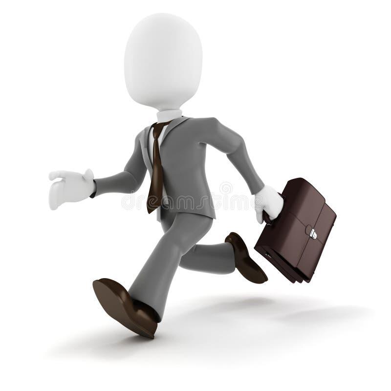 fonctionnement d'homme d'affaires de l'homme 3d illustration stock