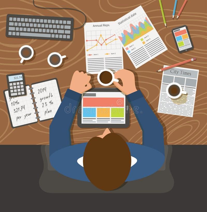 Fonctionnement d'homme d'affaires, lieu de travail de bureau de vue supérieure illustration libre de droits