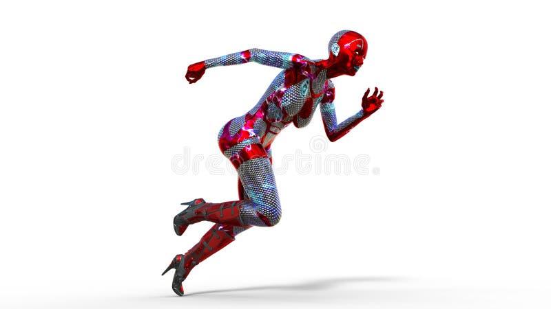 Fonctionnement de femme d'Android, cyborg féminin dans l'armure d'isolement sur le fond blanc, fille de la science fiction, 3D po illustration stock