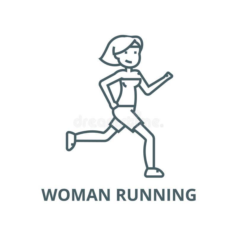 Fonctionnement de femme, ligne ic?ne, concept lin?aire, signe d'ensemble, symbole de vecteur de forme physique illustration stock
