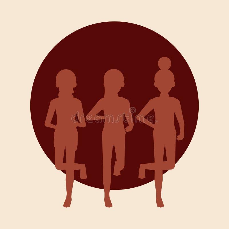 Fonctionnement de femmes de forme physique illustration de vecteur