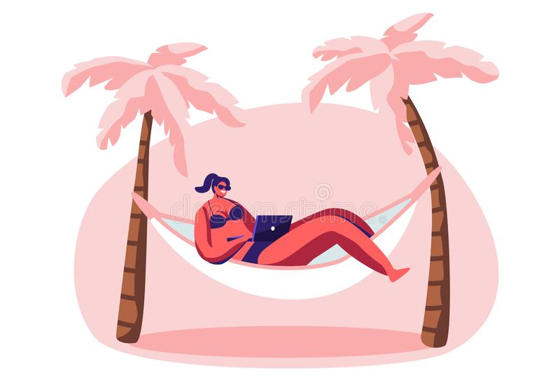 Fonctionnement de jeune femme sur l'ordinateur portable se situant dans l'hamac illustration de vecteur