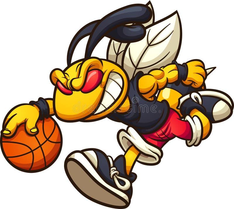 Fonctionnement de mascotte de frelon et basket-ball de jeu illustration de vecteur