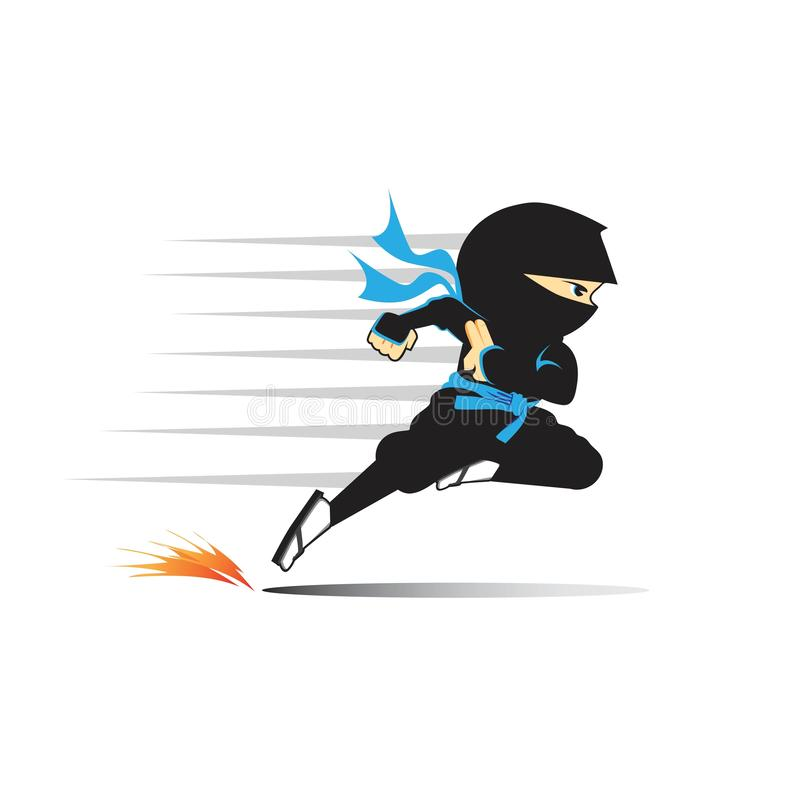 Fonctionnement de Ninja rapide, illustration de vecteur illustration stock