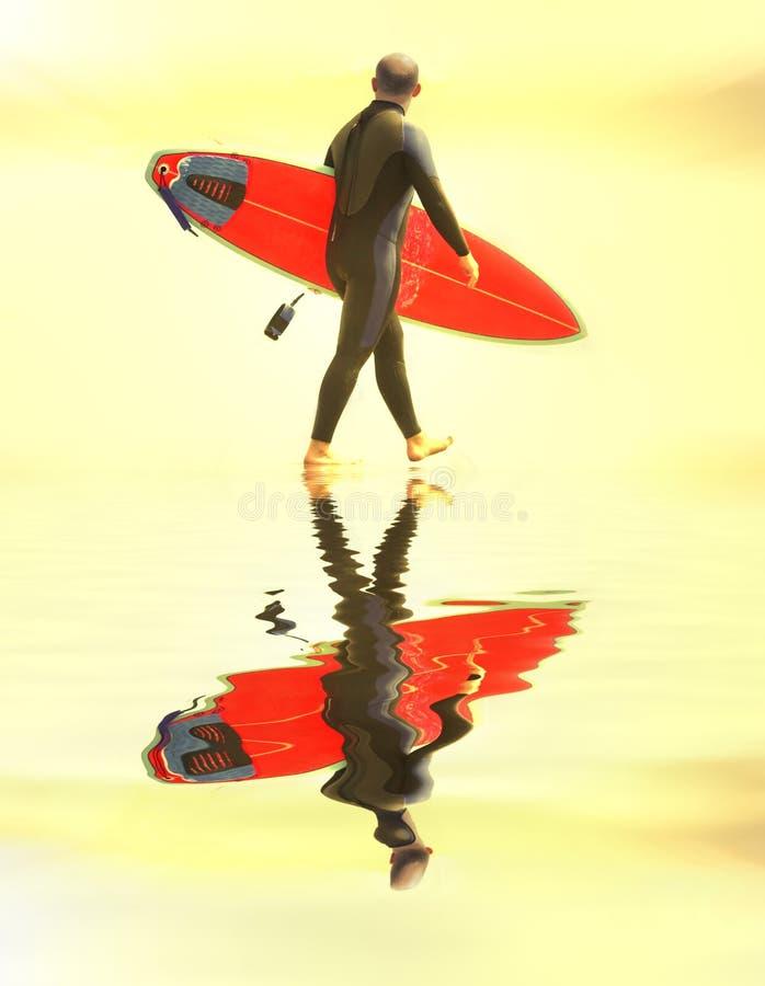 Fonctionnement de surfer de coucher du soleil photo stock