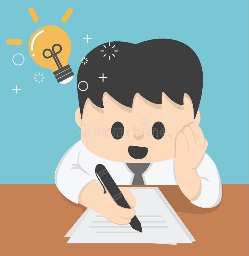 Fonctionnement de Thinking Ideas Strategy d'homme d'affaires Concept des idées illustration libre de droits