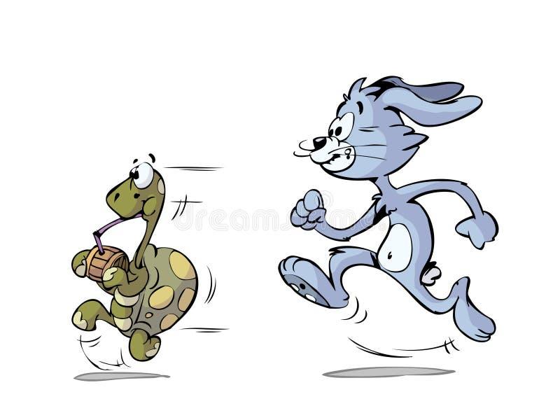 Fonctionnement de tortue et de lièvres illustration de vecteur