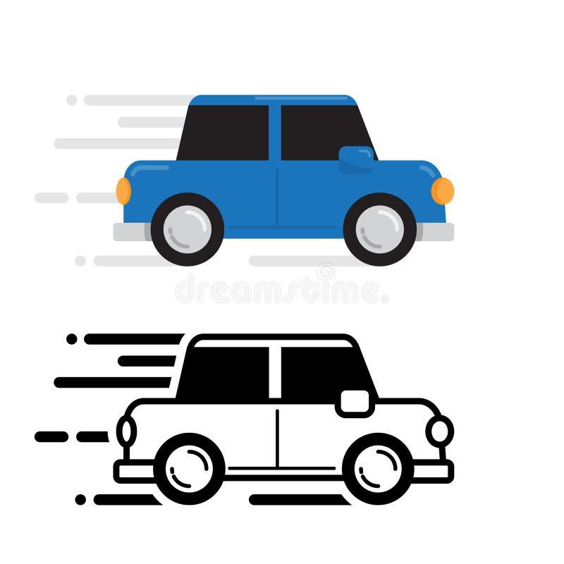 Fonctionnement de voiture, couleur et ligne conception plate image libre de droits