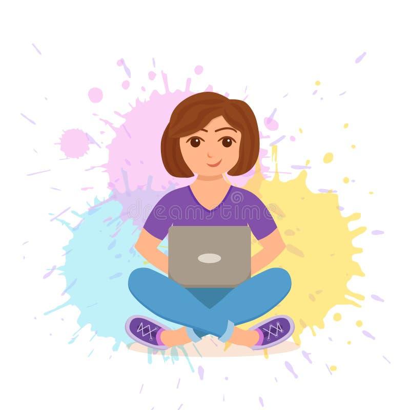 Fonctionnement heureux de jeune femme d'indépendant illustration stock