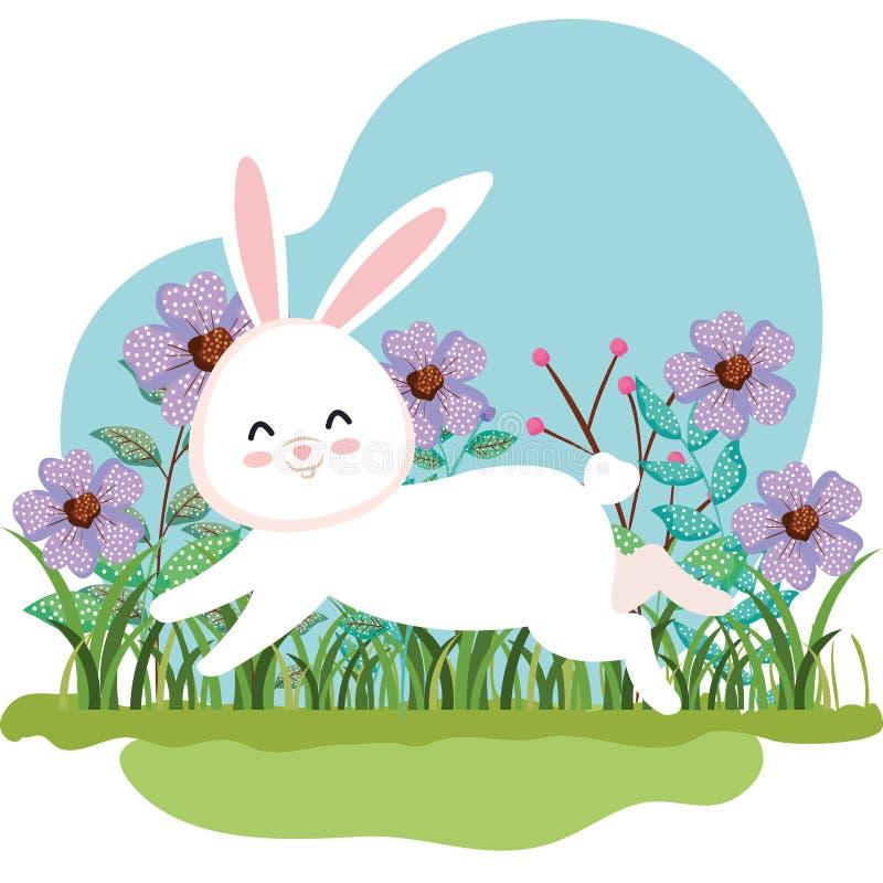 Fonctionnement mignon de lapin et usines de fleurs avec des feuilles illustration stock