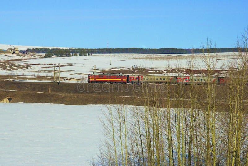 Fonctionnement russe de locomotive photo stock