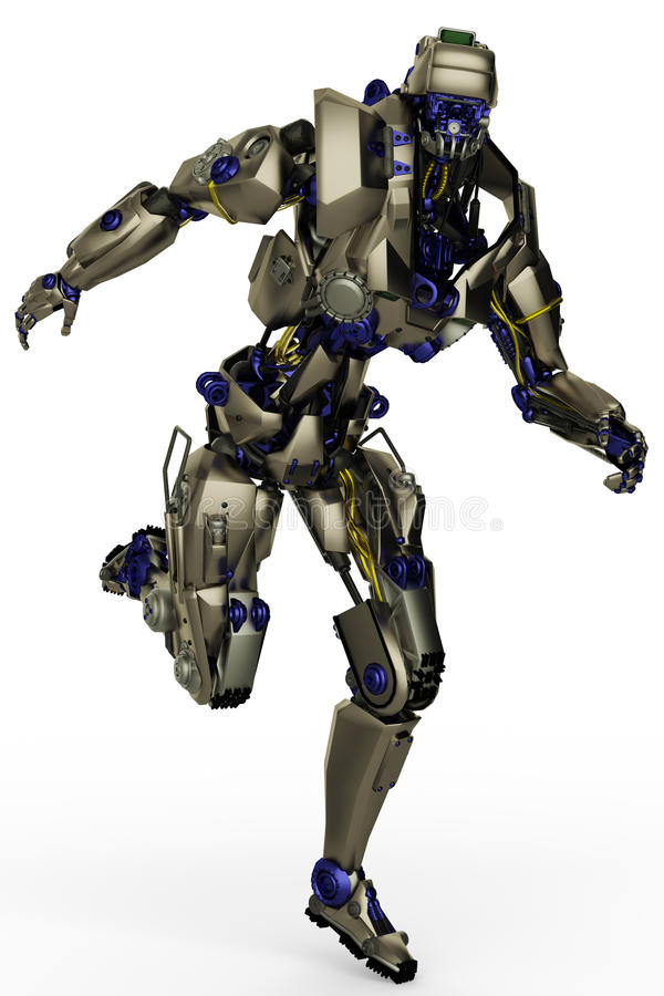 Fonctionnement superbe de robot illustration stock