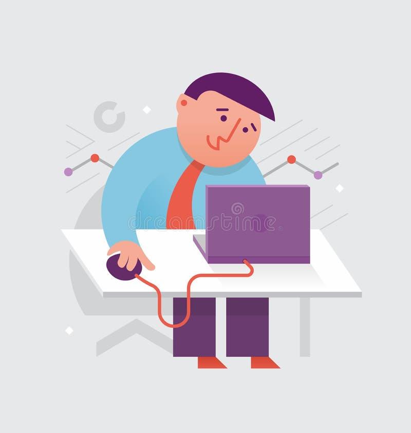 Fonctionner à l'ordinateur portatif illustration libre de droits