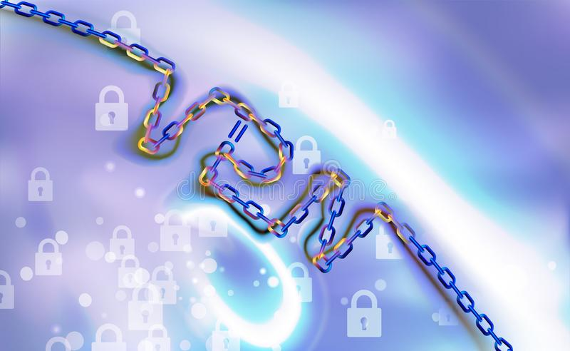 Fond à chaînes de connexion de VPN Fixez le concept privé virtuel de connexion réseau Aperçu de connectivité de VPN Protégez, séc illustration de vecteur
