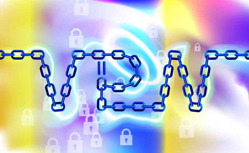 Fond à chaînes de connexion de VPN Fixez le concept privé virtuel de connexion réseau Aperçu de connectivité de VPN Protégez, séc illustration libre de droits