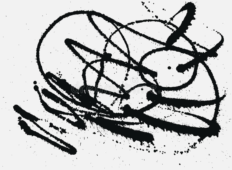 Fond à l'encre noire d'éclaboussure Taches tirées par la main de jet illustration stock