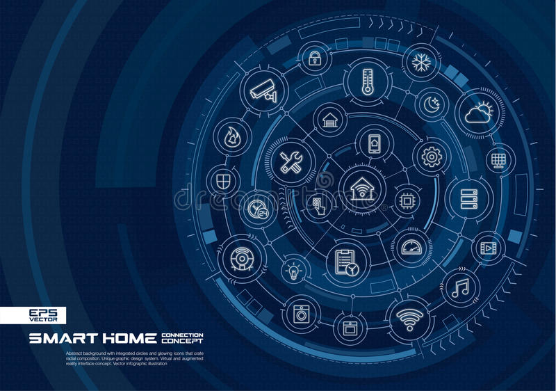 Fond à la maison futé abstrait de technologie Digital relient le système aux cercles intégrés, ligne mince rougeoyante icônes illustration stock