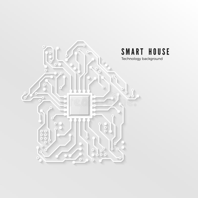 Fond à la maison futé de technologie Circuit intelligent de papier du concept 3d de maison Illustration de vecteur illustration de vecteur