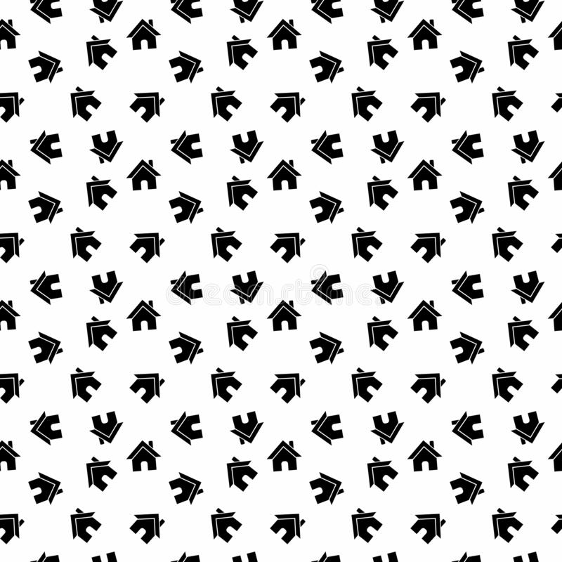 Fond à la maison noir et blanc sans couture de modèle de vecteur illustration stock