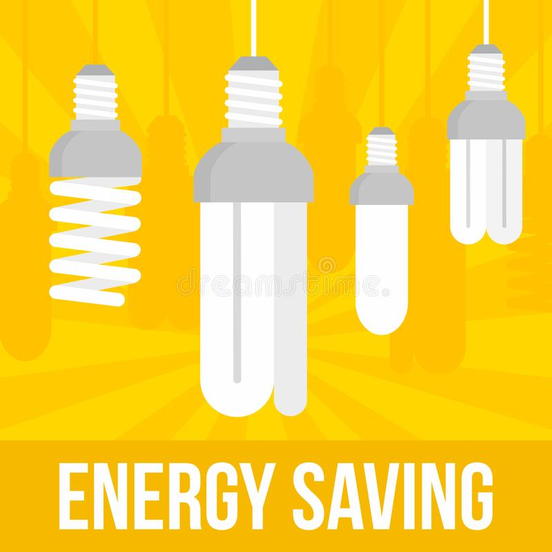 Fond économiseur d'énergie de concept d'ampoule, style plat illustration stock