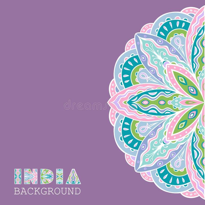 Fond élégant avec le modèle indien ethnique de demi-cercle illustration de vecteur