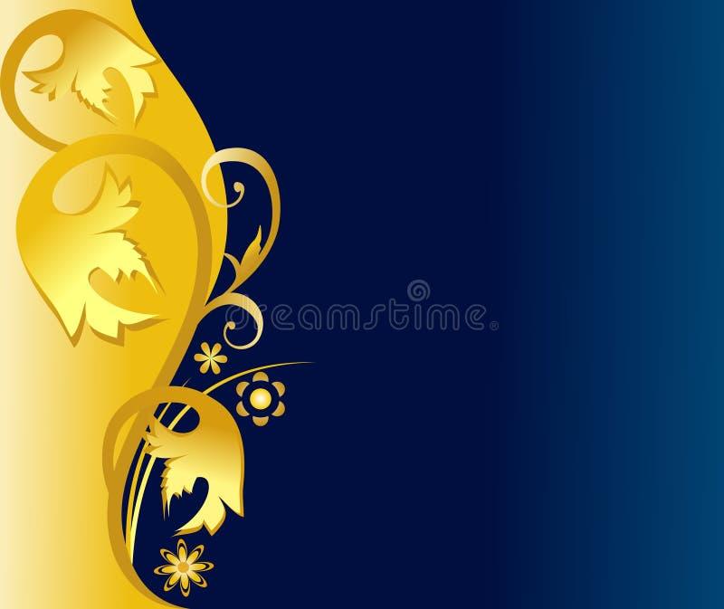 Fond élégant bleu d'or illustration de vecteur