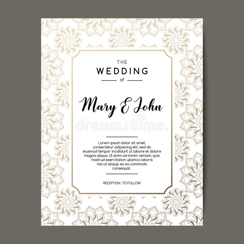 Fond élégant d'invitation de mariage Design de carte avec l'ornement floral d'or illustration libre de droits
