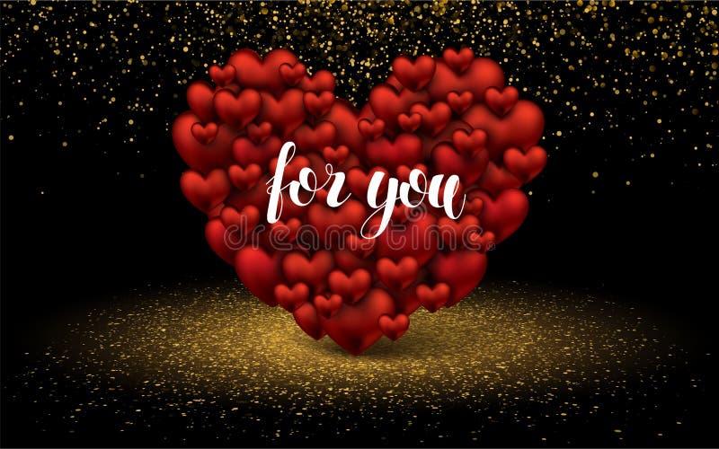 Fond élégant de luxe d'or de scintillement d'amour de deux coeurs Lettrage pour vous carte de conception de calibre de dispositio illustration libre de droits