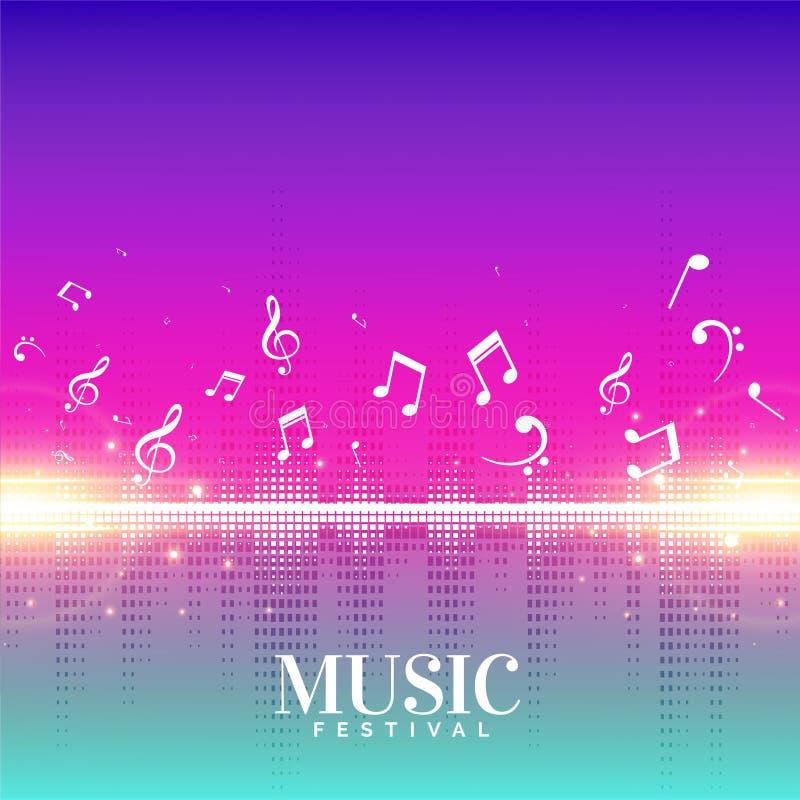 Fond élégant de musique avec des notes de vol illustration stock