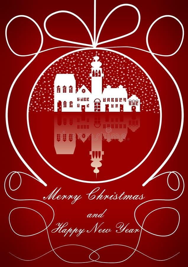 Fond élégant de Noël avec la vieille ville dans le motif de chutes de neige dans la forme d'ensemble de boule de Noël illustration stock