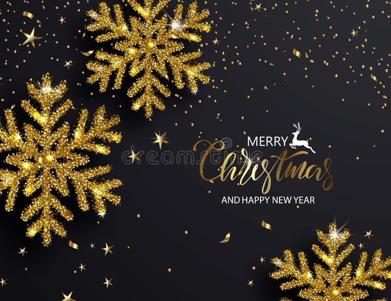 Fond élégant de Noël avec les flocons de neige brillants d'or Illustration de vecteur illustration de vecteur