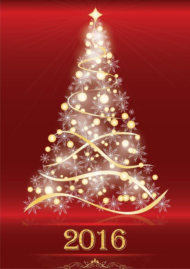 Fond 2016 élégant rouge avec l'arbre de Noël illustration libre de droits