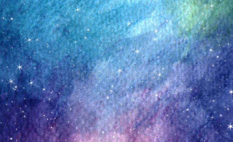 Fond étoilé coloré de nébuleuse de galaxie de l'espace d'aquarelle image libre de droits