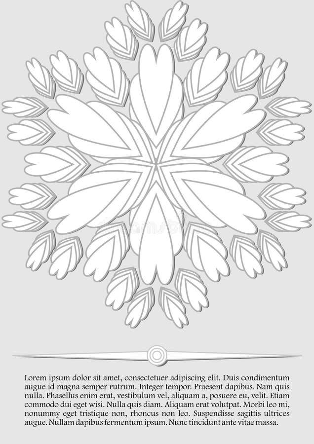 Fond abstrait élégant, forme blanche de fleur d'imagination sur le fond gris-clair, bas tract contrastant, conception d'insecte illustration libre de droits