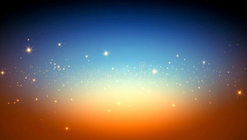 Fond abstrait, étoiles lumineuses de l'espace illustration de vecteur