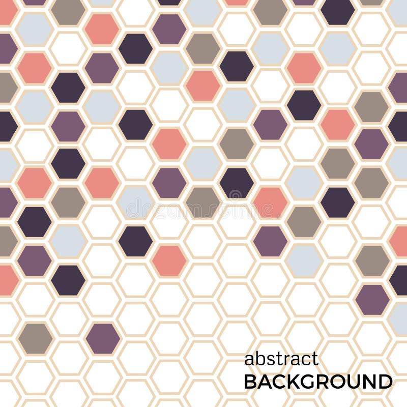 Fond abstrait avec des éléments d'hexagones de couleur illustration de vecteur