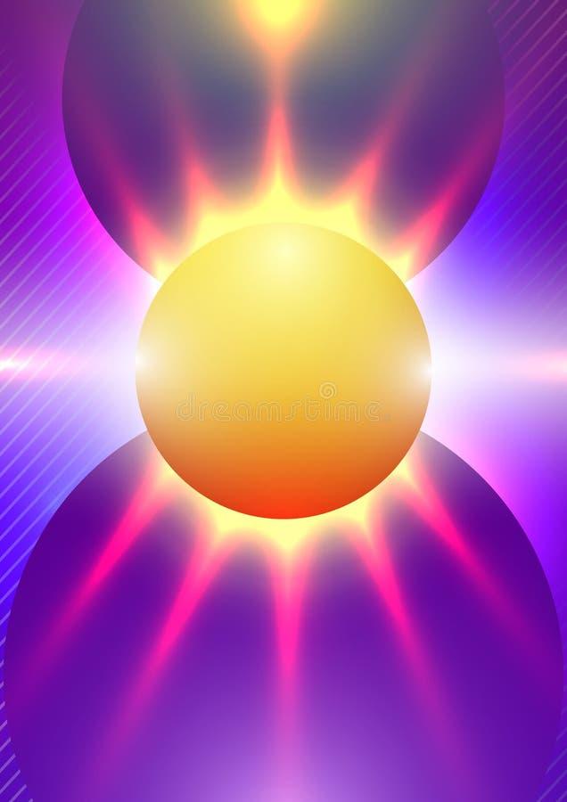 Fond abstrait avec des formes géométriques colorées de gradient sous forme de Sun et de rayons image stock