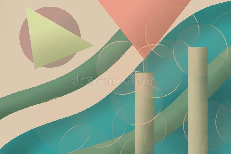 Fond abstrait avec des formes géométriques colorées et des lignes onduleuses photos stock