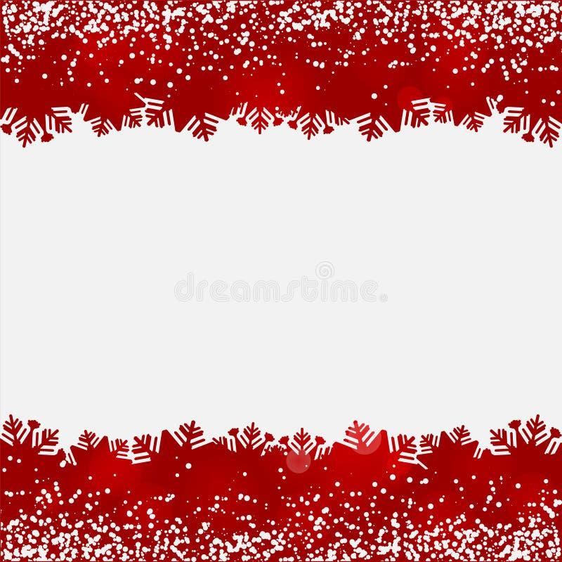 Fond abstrait avec des frontières de rouge de neige et de flocon de neige illustration libre de droits
