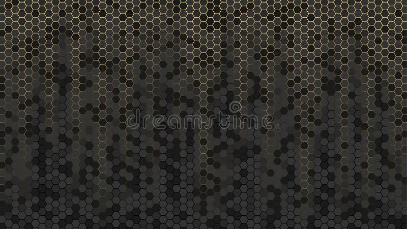 Fond abstrait avec des hexagones d'or et noirs Papier peint de nid d'abeilles de vecteur pour la bannière illustration de vecteur