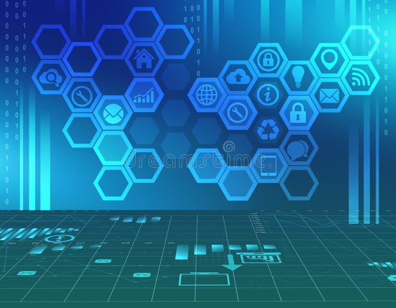 Fond abstrait avec des icônes à l'intérieur de l'hexagone image stock