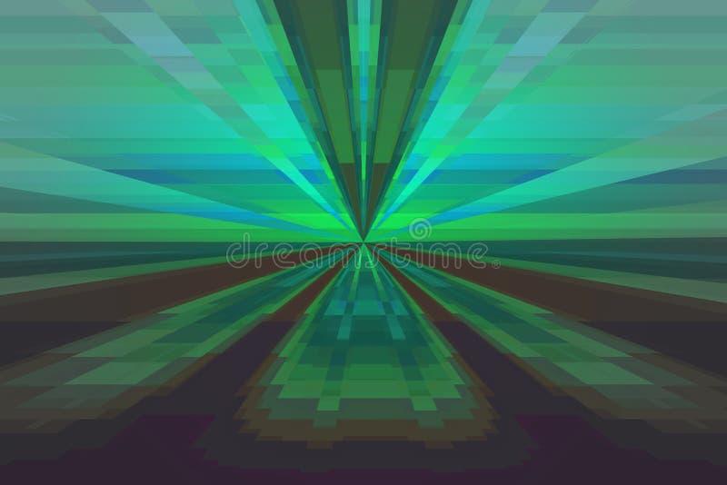 Fond abstrait avec des lignes et des rayons verts, bleus et bruns illustration libre de droits