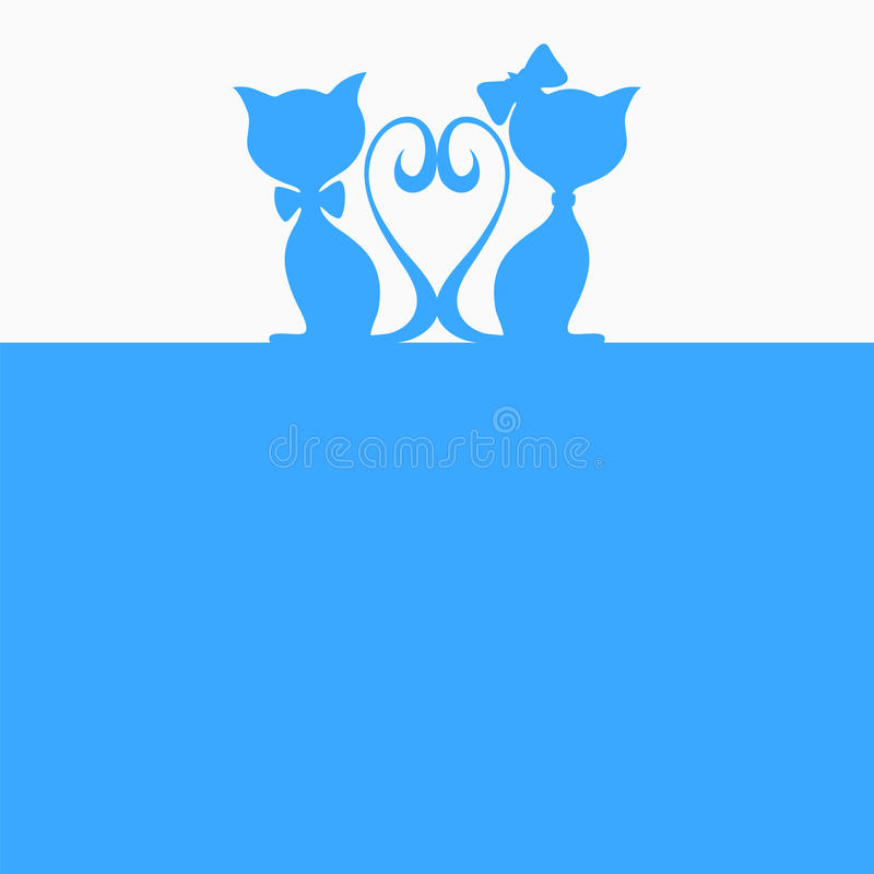 Fond abstrait avec deux chats illustration de vecteur