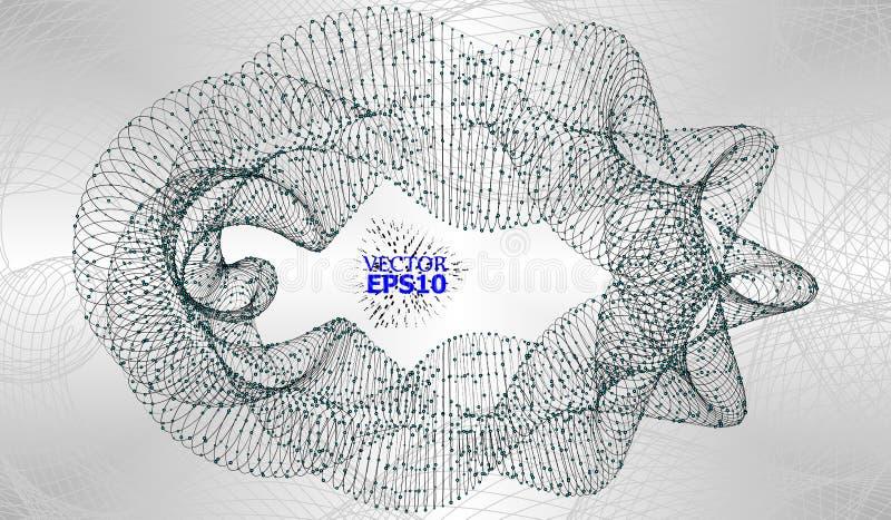 Fond abstrait avec Dots Array et des lignes Structure de connexion Concept moderne géométrique de technologie Données numériques  illustration de vecteur