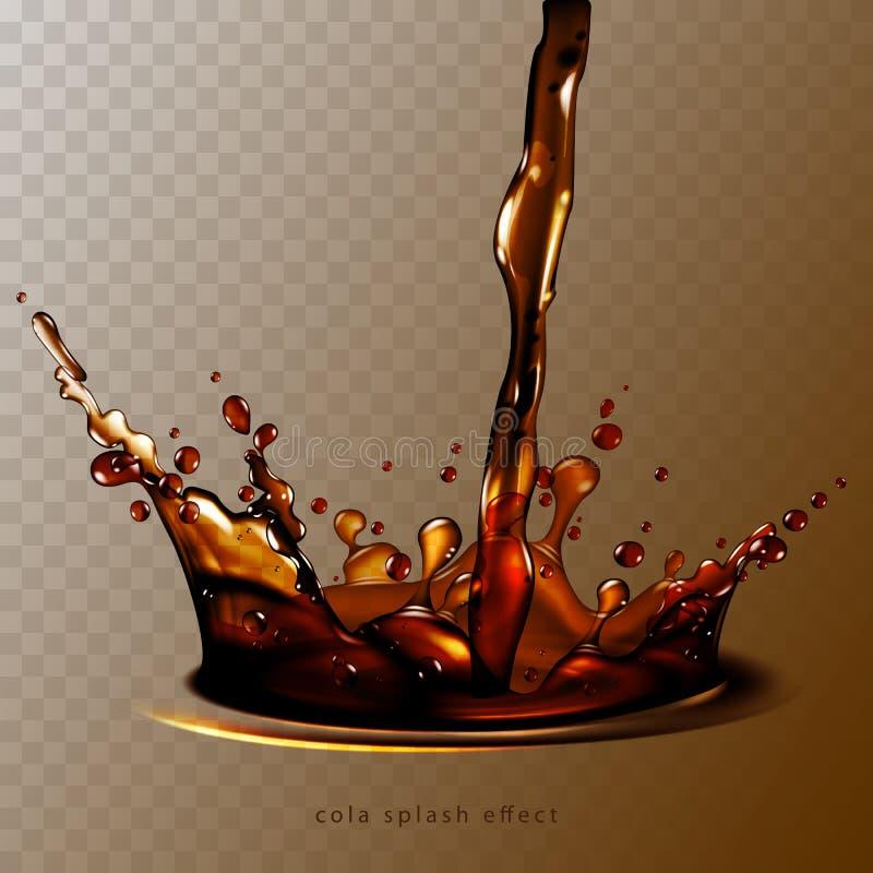 Fond abstrait avec l'éclaboussure transparente de kola, haut détaillée illustration stock