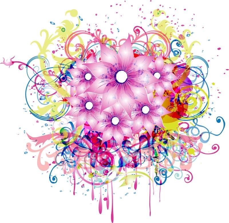 Fond abstrait avec l'élément floral illustration de vecteur