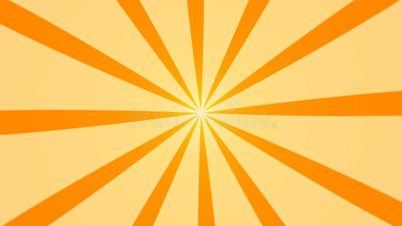 Fond abstrait avec l'animation des faisceaux du soleil Rétro fond radial rendu 3d illustration libre de droits